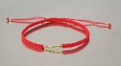 14 Karat Yellow Gold Disco Ball Bead Macrame Bracelet (Red)