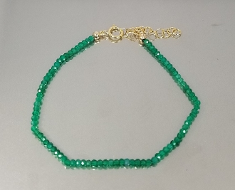 Green Onyx Beaded Bracelet (2mm)