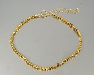 Gold Pyrite Beaded Bracelet (2mm)