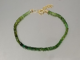 Green Tourmaline Beaded Bracelet (3mm)