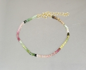 Watermelon tourmaline Beaded Bracelet (2mm)