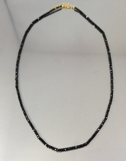 Black Spinel Beaded Necklace (2mm)