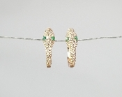14 Karat Rose Gold Diamond/Emerald Snake Earrings (0.28/0.06ct)