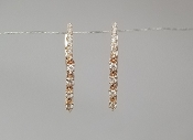 14 Karat Rose Gold Diamond Dangling Huggie Earrings (0.22ct)