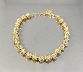 14 Karat Yellow Gold Champagne Diamond Bracelet (8.16ct)