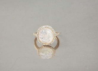 14 Karat Rose Gold Rainbow Moonstone Moon Face Diamond Ring (2)