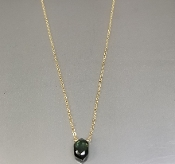 14 Karat Yellow Gold Green Tourmaline Necklace