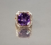 14 Karat Rose Gold Amethyst Diamond Ring (12.98/0.46ct)