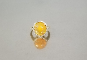14 Karat Yellow Gold Mexican Fire Opal Diamond Ring (0.31ct)