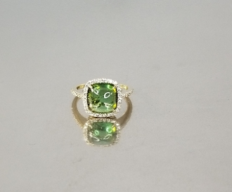 14 Karat Yellow Gold Green Tourmaline Dia. Ring (3.28/0.28ct)