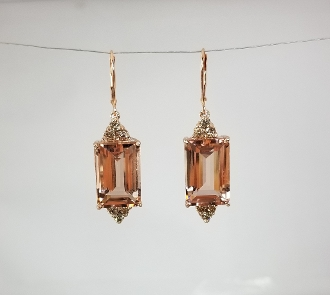14 Karat Rose Gold Morganite Cham. Dia.Earrings (21.80/0.66ct)