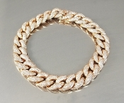 14 Karat Rose Gold Diamond Cuban Link Chain Bracelet (2.80ct)