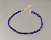 14 Karat Yellow Gold Lapis Beaded Bracelet (2mm)