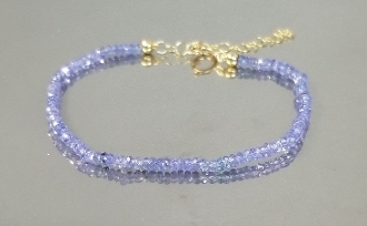 14 Karat Yellow Gold Tanzanite Beaded Bracelet (2mm)
