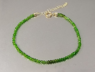 14 Karat Yellow Gold Chrome Diopside Beaded Bracelet