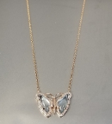 14K Rose Gold Blue Topaz Dia. Butterfly Necklace (1.44/0.1.15ct)