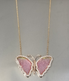 14K Rose Gold Wat.Tour. Diam. Butterfly Necklace (4.52/0.50ct)