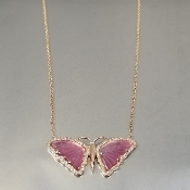 14K Rose Gold Wat.Tour. Diam. Butterfly Necklace (1.75/0.18ct)