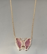 14K Rose Gold Wat.Tour. Diam. Butterfly Necklace (1.49/0.17ct)
