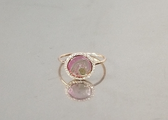 14 Karat Rose Gold Watermelon Tourmaline Dia. Ring (1.56/0.08ct)