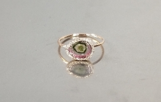 14 Karat Rose Gold Watermelon Tourmaline Dia. Ring (1.58/0.07ct)