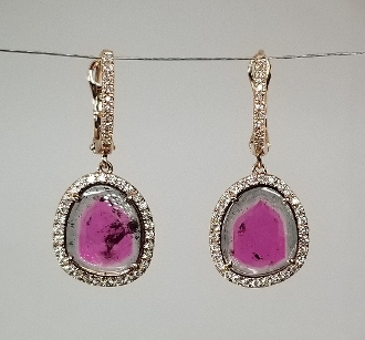 14 Karat Rose Gold Watermelon Tour. Diam. Earrings (6.07/0.50t)