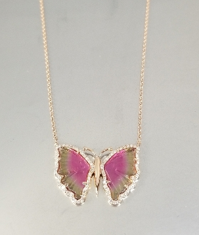 14K Rose Gold Wat.Tour. Diam. Butterfly Necklace (3.43/0.22ct)