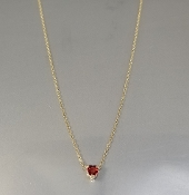 14 Karat Yellow Gold Heart Shaped Red Sapphire Necklace (0.15ct)