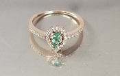 14 Karat Rose Gold Emerald Diamond Ring (0.20/0.17ct)