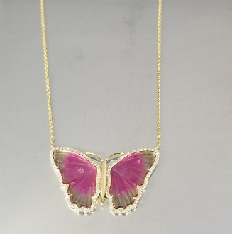 14K Yellow Gold Wat.Tour. Diam. Butterfly Necklace (4.74/0.26ct)