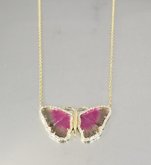 14K Yellow Gold Wat.Tour. Diam. Butterfly Necklace (3.25/0.22ct)