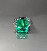 14KW Gold Colombian Emerald Trillion Cut Diamond-R (9.89/0.59ct)