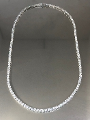 14 Karat White Gold Diamond Tennis Necklace (17-29ct)