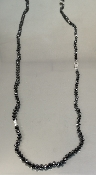 14K White Gold Black Diamond Bead Necklace 70.0ct/ 0.15ct