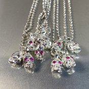 Pink Sapphire Evil Twins Skull Necklace (0.12ct)