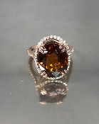 14 Karat Rose Gold Natural Honey Zircon Dia. Ring (11.01/0.35ct)