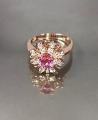 14 Karat Rose Gold Pink Sapphire Diamond Ring (0.94/0.52ct)