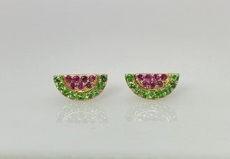 14 Karat Y. Gold Ruby/Tsavorite Watermelon Earrings (.11/.18ct)