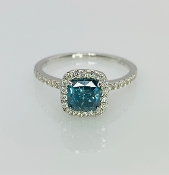 14 Karat White Gold Blue Diamond Ring (1.06ct/0.30ct)