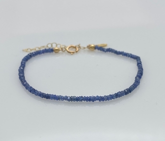 14 Karat Yellow Gold Blue Sapphire Beaded Bracelet (2mm)