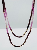 Ruby and Pink Sapphire/Gold Pyrite Necklace
