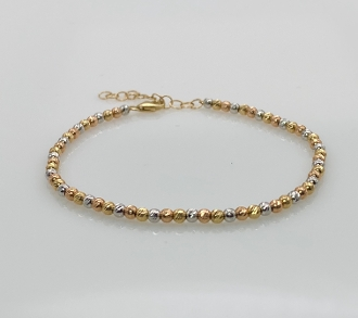 14K Gold Tri-Color Laser Cut Disco Ball Bead Bracelet (2.6mm)