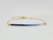 "Blue and White Sapphire 2"" Bar Bracelet"