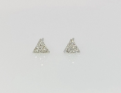 14K White Gold Triangle Diamond Earrings 0.10ct