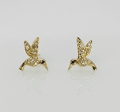 14K Yellow Gold Diamond Hummingbird Earrings 0.01/0.11ct