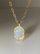 14 Karat Yellow Gold Rainbow Moonstone and Diamond Buddha