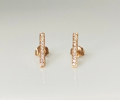 14K Rose Gold Diamond Bar Earrings 0.21ct