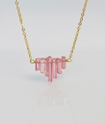 Pink Tourmaline 7 Crystal Necklace