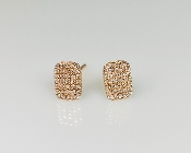 14 Karat Rose Gold Rectangular Cushion Pave Diamond Earring