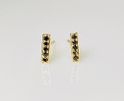 14 Karat Yellow Gold Black Diamond Bar Earrings (0.11ct)